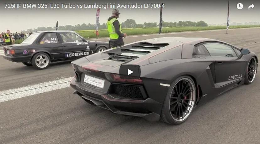 Галерия - 725 к.с. BMW E30 срещу Lambo Aventador на драг (ВИДЕО)